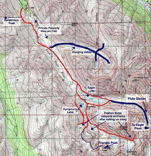 Eagle and Symphony Lakes topo map  Take a Hike  Pinterest