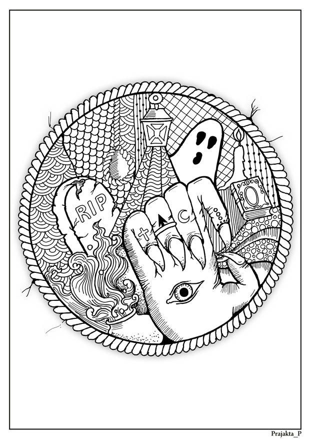 Abstract Halloween Coloring Page For Adults Spooky Party Diy Halloween Coloring Halloween Coloring Pictures Halloween Coloring Pages
