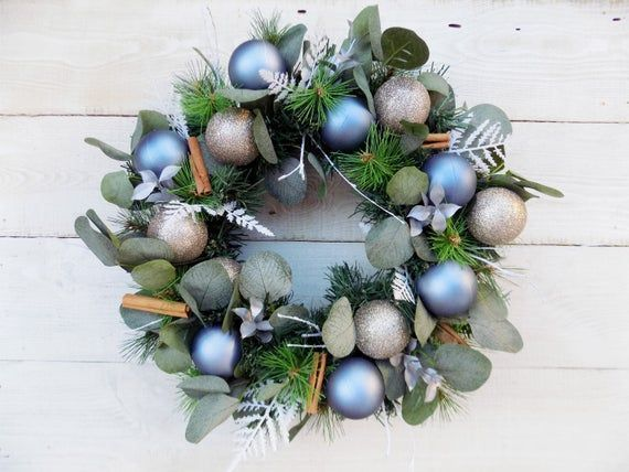 Photo of Christmas wreath bauble wreath rustic home decorations artificial spruce pine eu…,  #artifi…