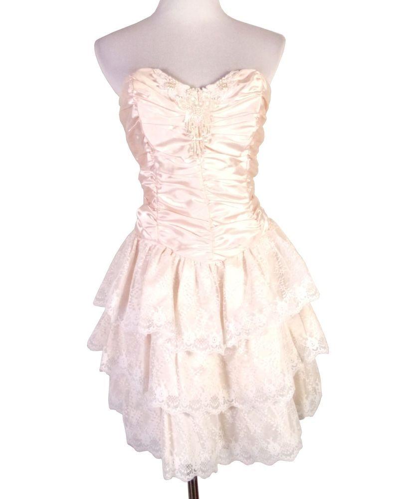 Vtg s la glo pink tulle beaded lace skirt prom dress mini
