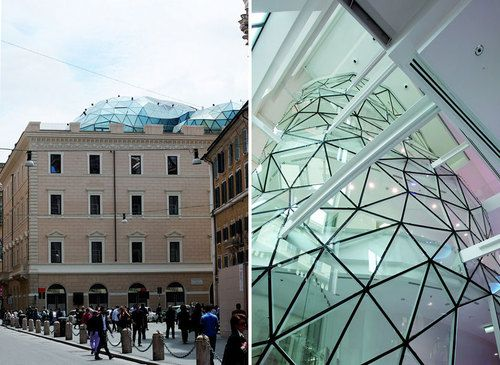Modern Architecture Rome in rome, a deflated geodesic dome sits atop a 1901 palazzo