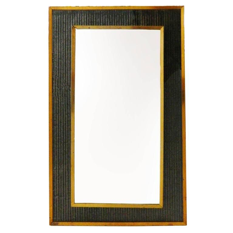 Jacques Adnet Style 1950s Mirror   From a unique collection of antique and modern wall mirrors at https://www.1stdibs.com/furniture/mirrors/wall-mirrors/