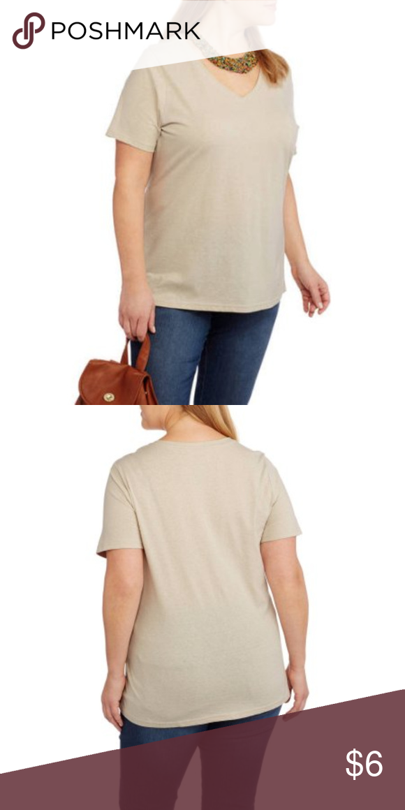 f8f3763f Oatmeal Beige Faded Glory Plus-Size V-Neck T-Shirt Oatmeal Beige Faded  Glory Women's Plus-Size V-Neck Tee Sizes: 1X and 2X Brand new with tags.