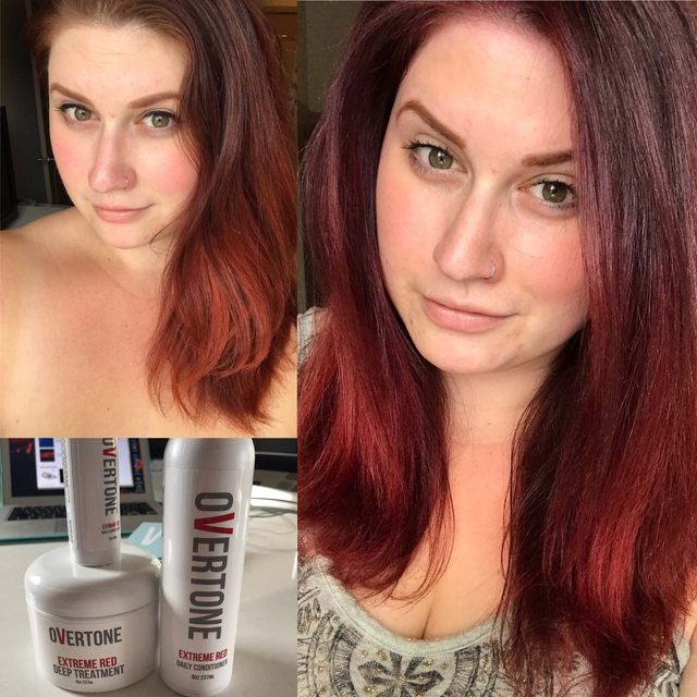 Overtone Extreme Red Deep Conditioner Before And After Deep Red Hair Deep Conditioner Overtone