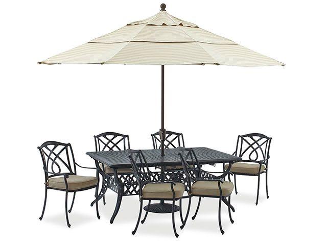 Valencia 5 Pc Dining Set With 71 103 X 44 Rectangular Extension Table Art Cast Aluminum Patio Furniture Patio Outdoor Decor