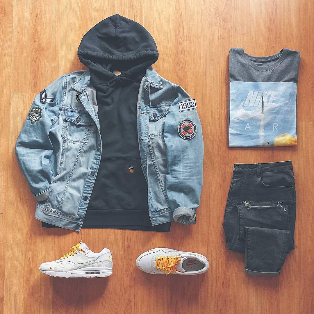 Patta Nl X Carharttwip Black Hoodie Levis Denim Jacket With Patches Nikesp Streetwear Men Outfits Mens Casual Outfits Mens Fashion Casual Outfits [ 1080 x 1080 Pixel ]