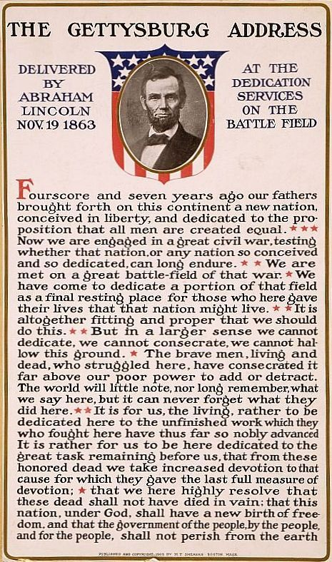 Patriotic Decor Abraham Lincoln Gettysburg Address