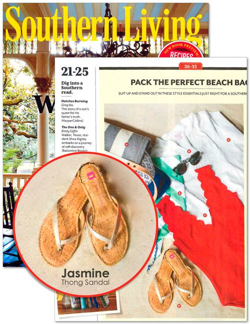 Jasmine Champagne Thong Sandal featured in Southern Living