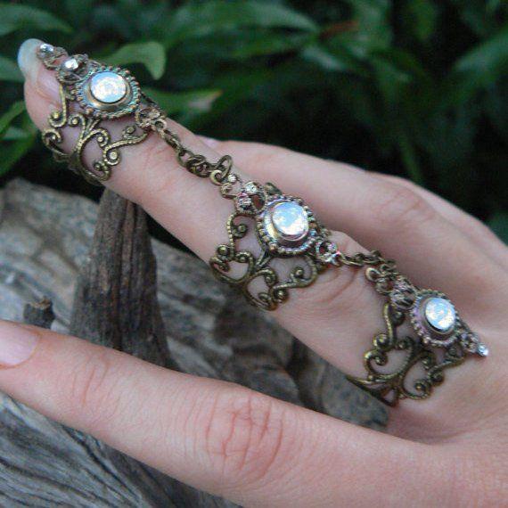 Anillo midi, anillo de tobillo anillo de armadura anillo de uñas anillo de garra anillo de ópalo anillo gótico anillo victoriano anillo de la diosa de la luna anillo pagano anillo de bruja gitana boho