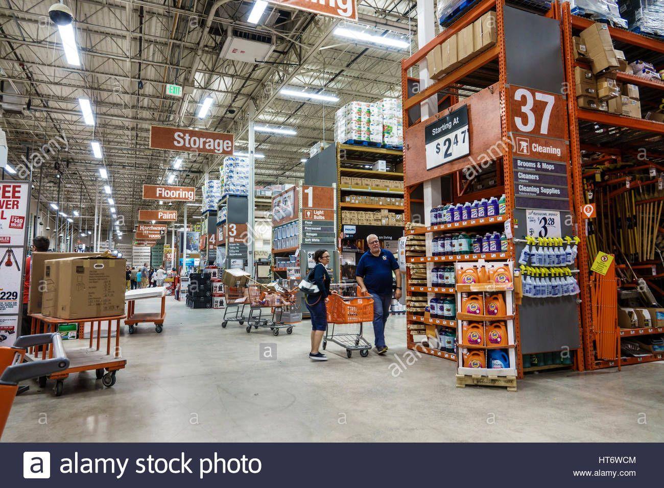 Superior Miami Florida Home Depot Store Home Improvement Aisle Shelves Sign Sale Man  Woman Couple Interior Shopping Cart Stock Photo # ...