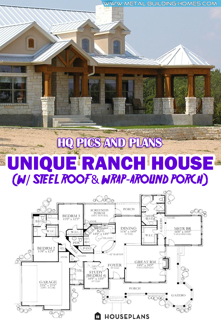 Unique Ranch House W Steel Roof Wrap Around Porch Hq Plans Pictures In 2020 New House Plans Craftsman House Plans Ranch House