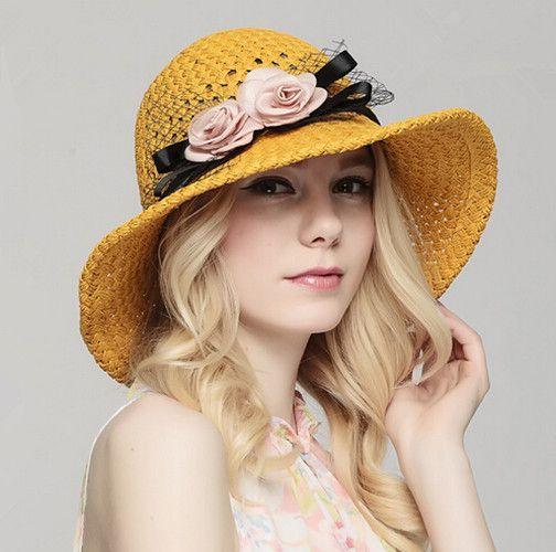 Fascinator flower straw hat for girls packable sun hats UV ...