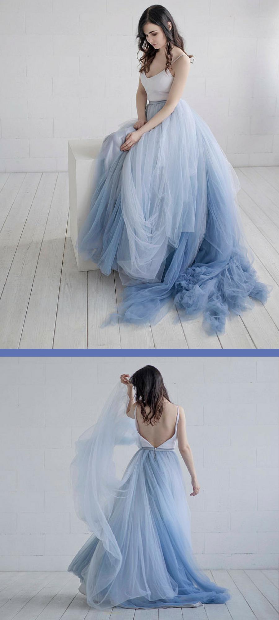 Gorgeous Nora Ombre Wedding Gown Wedding Dress Wedding Ideas Bridal Dress Bride Ad Two Piece Wedding Dress Blue Wedding Dresses Tulle Wedding Dress [ 2000 x 900 Pixel ]