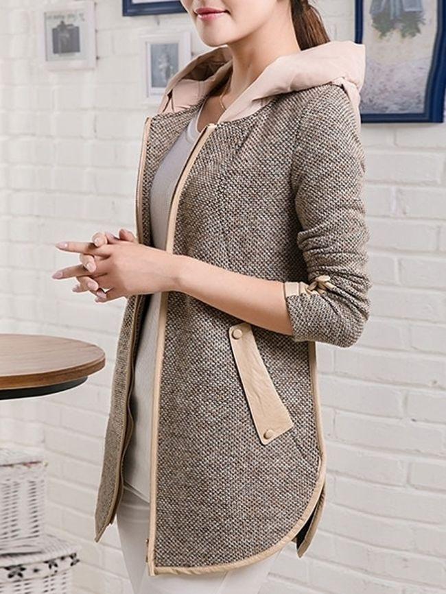Hooded Contrast Trim Pocket Curved Hem Coat