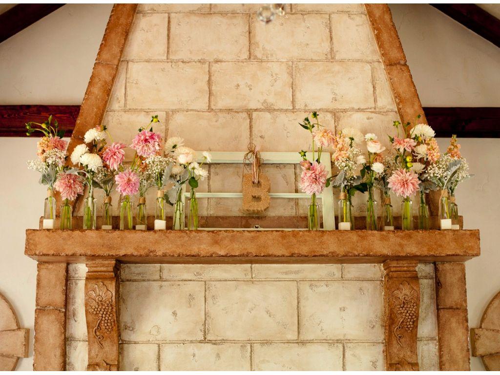 Blush pink ivory fireplace mantel decorations wedding