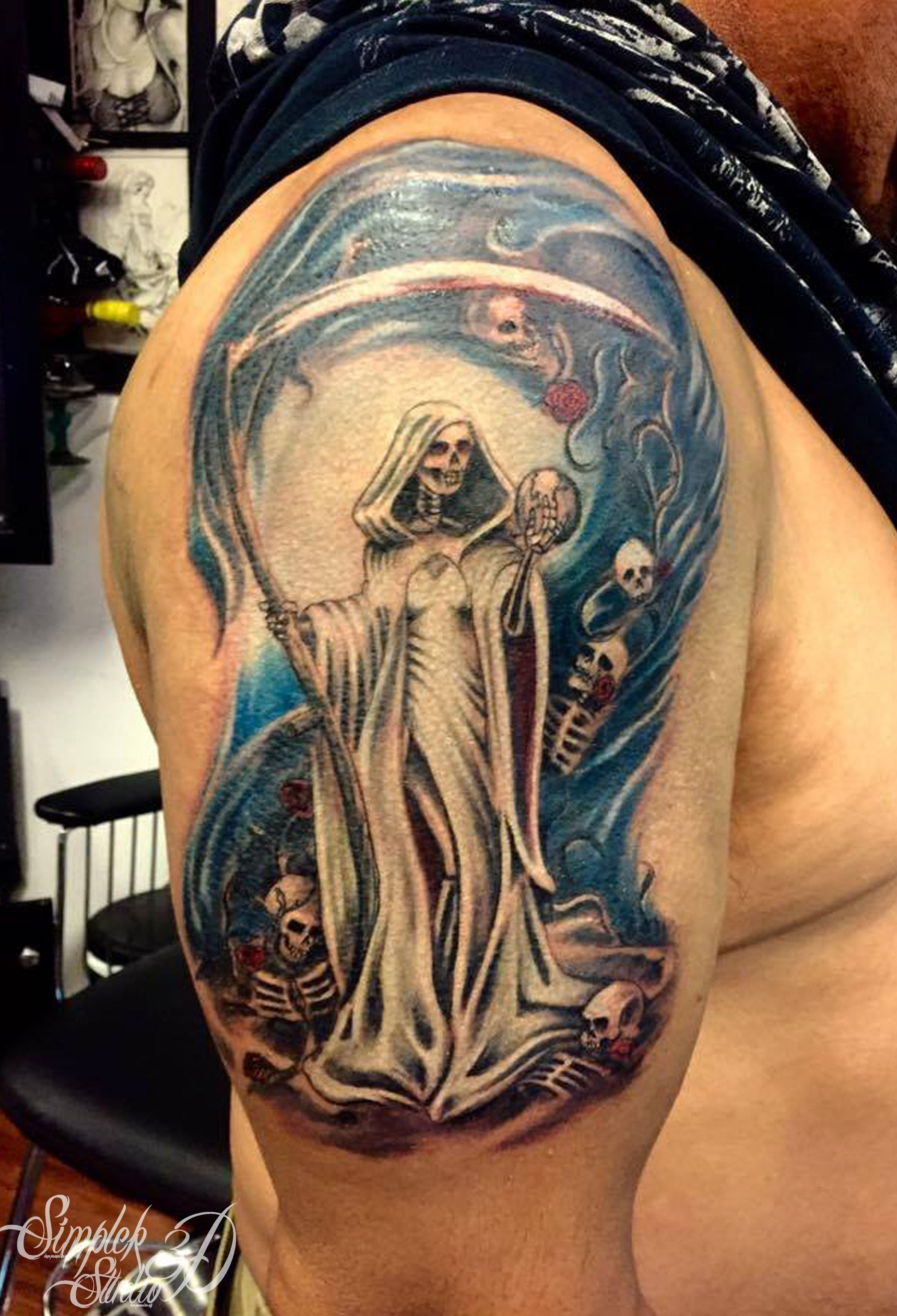 Color Tattoo Santa Muerte With Globe And Lost Skeleton Spirits 3d