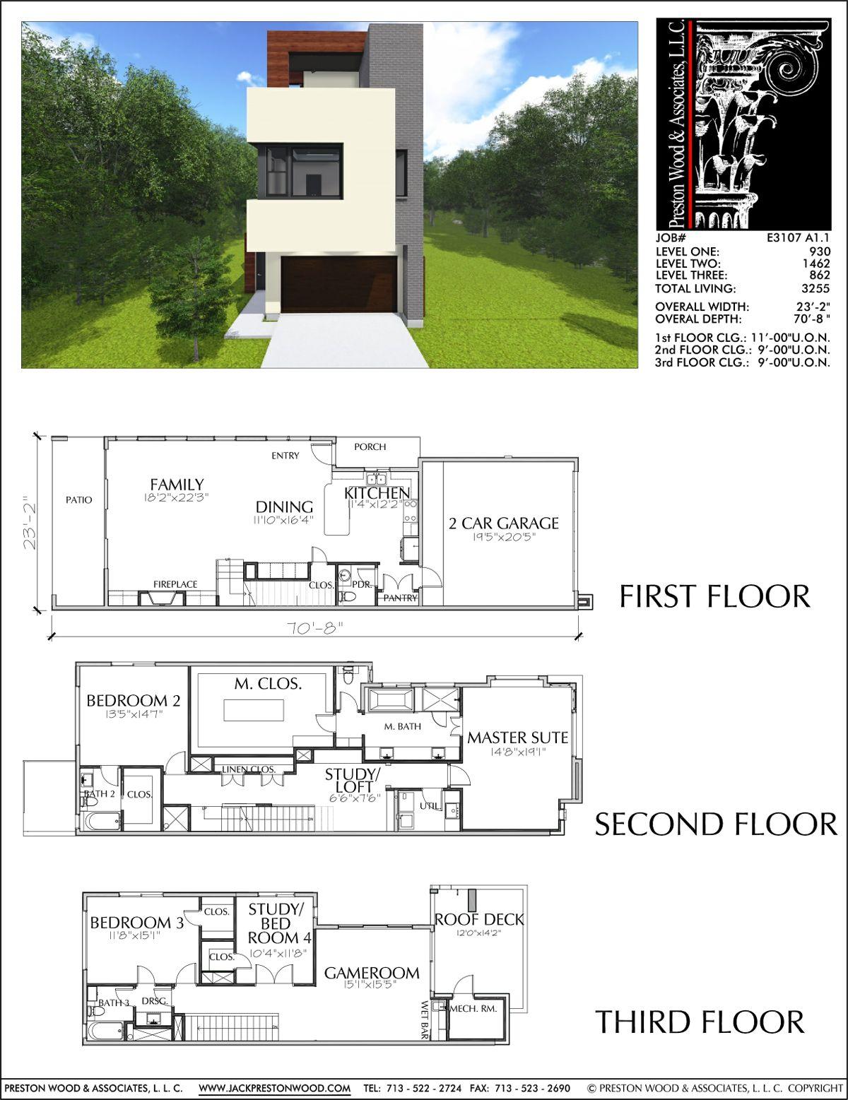 KATY AND HOUSTON Townhouse Plan E3107 A1 1 Diseños de