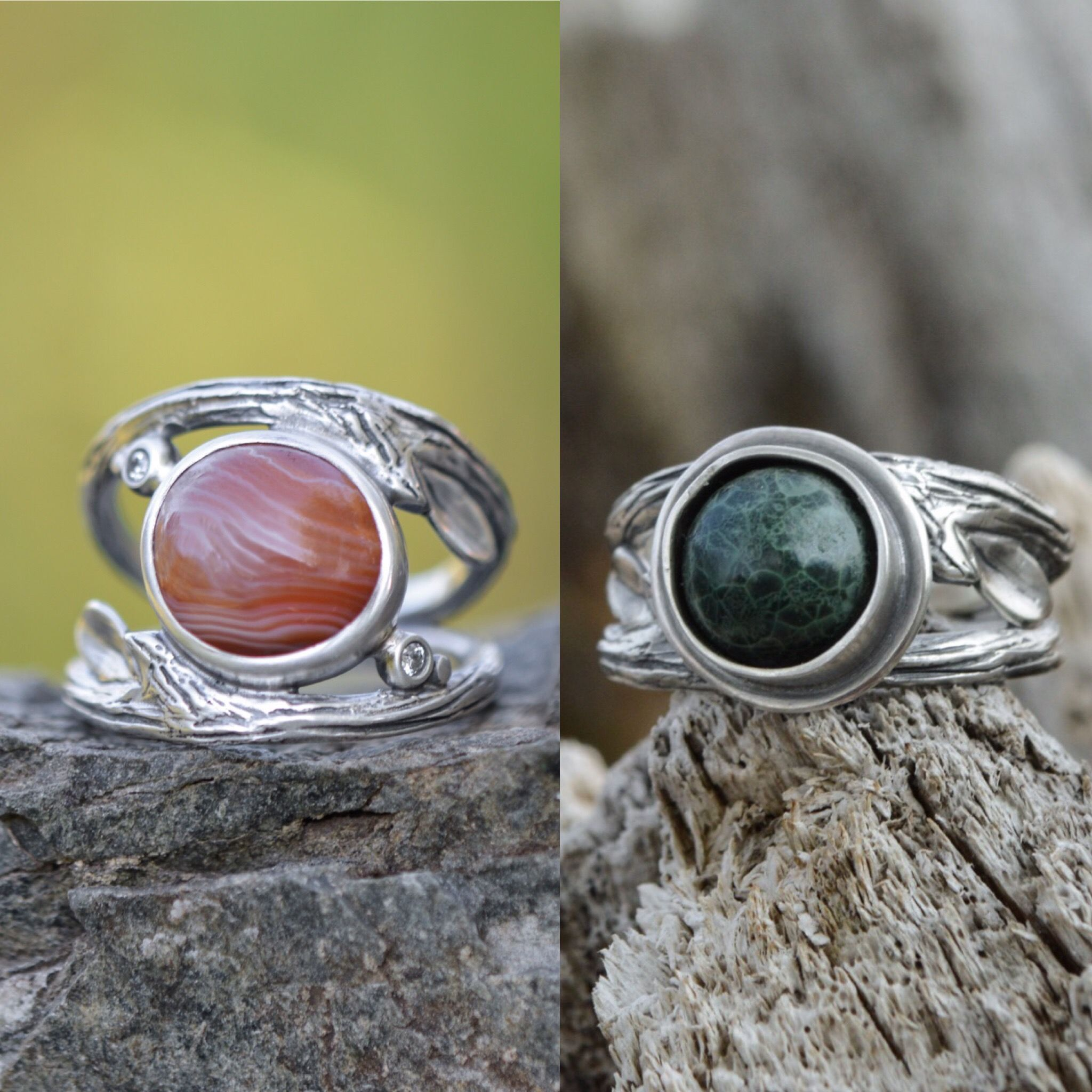 Lake Superior Stone Rings In Recycled Sterling Silver By