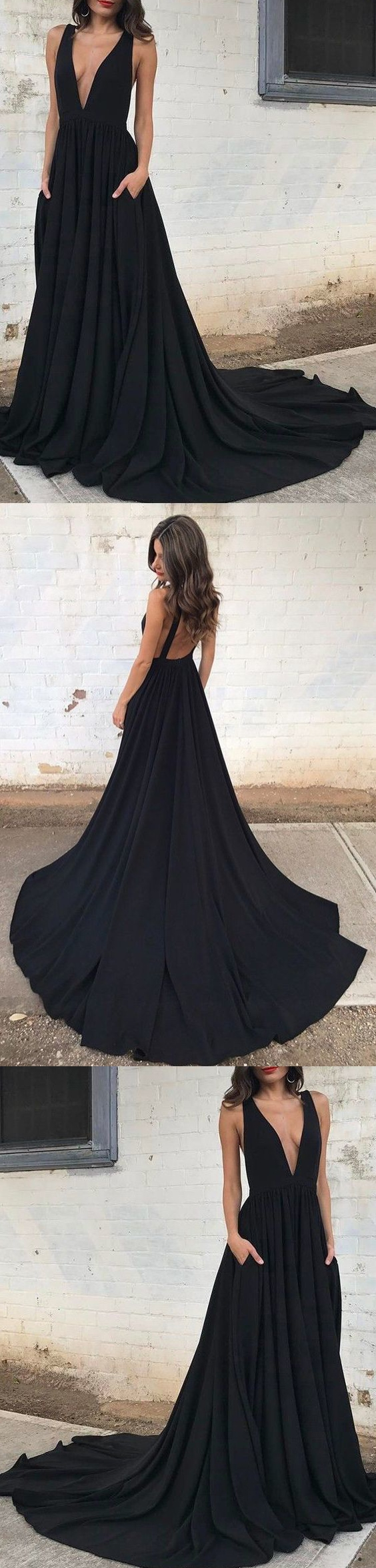 Black prom dresses vneck sweepbrush train sexy cheap prom dress