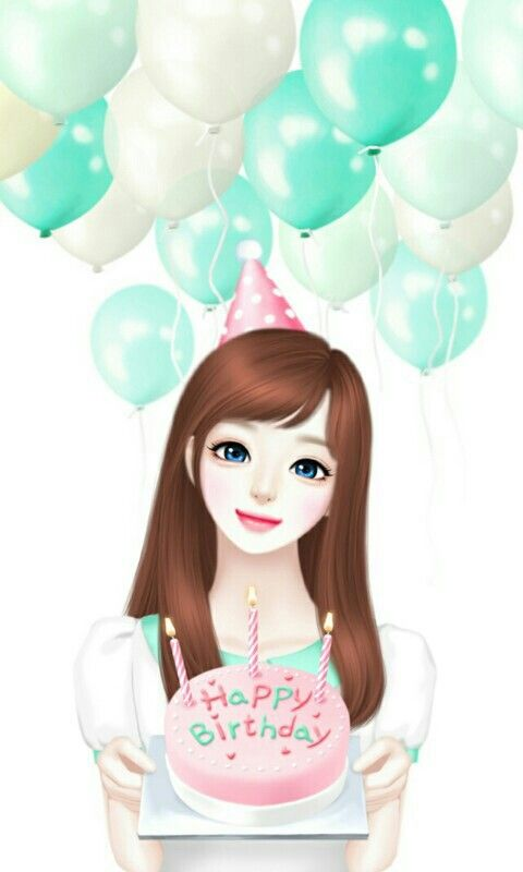 Happy Birthday Cute Cartoon Decoupage Dream Drawing Most Beautiful Images Cute Girls
