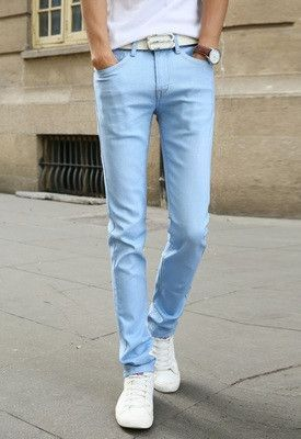 699812a8 New Fashion Men's Casual Stretch Skinny Jeans Trousers Tight Pants Solid  Colors
