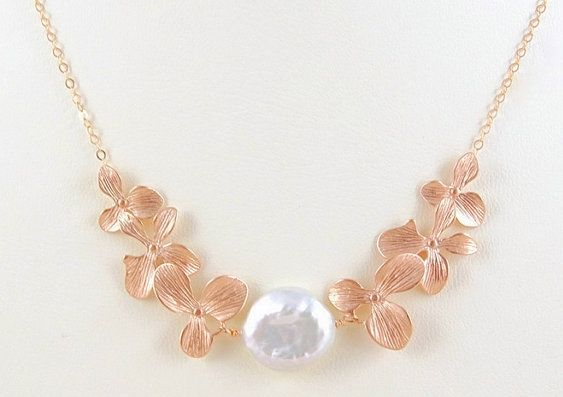 Rose Gold Bridal Jewelry - Rose Gold Bridal Necklace