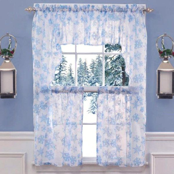 For Christmas Curtains Christmas Snowflakes Tier Curtains