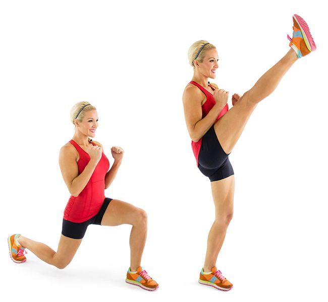 Afbeeldingsresultaat voor reverse lunge met kicks