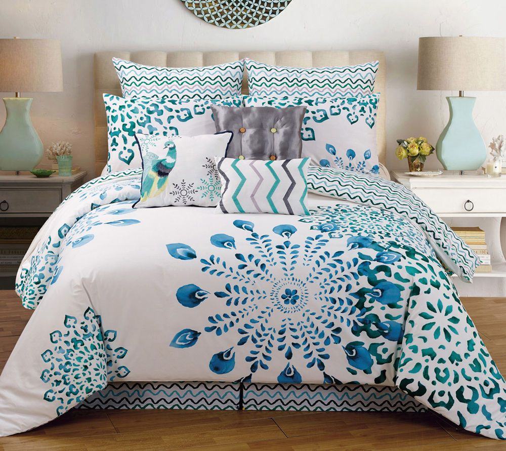 9 Piece Teal Blue Peacock Design 100 Cotton King Size Comforter