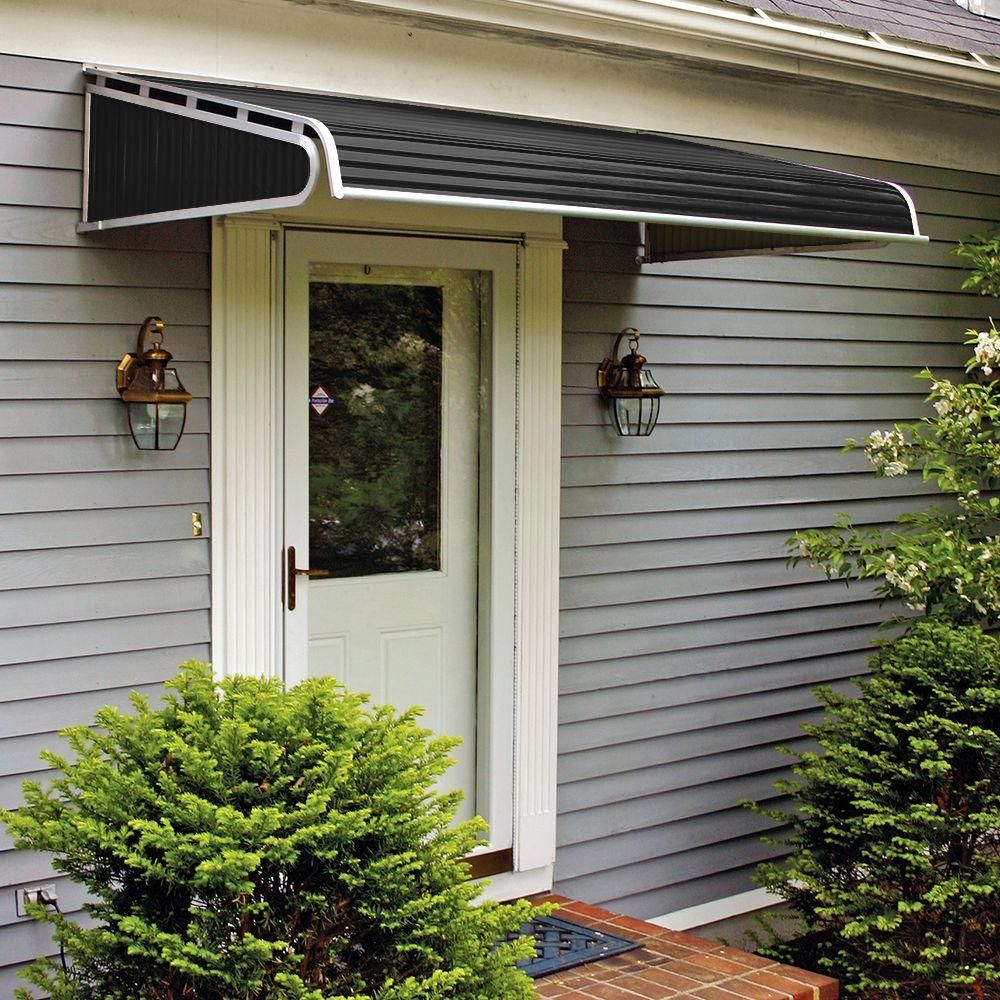 Nuimage Awnings 5 Ft 1500 Series Door Canopy Aluminum Awning 12 In H X 42 In D In Black K150706090 The Ho Awning Over Door Aluminum Awnings Door Awnings
