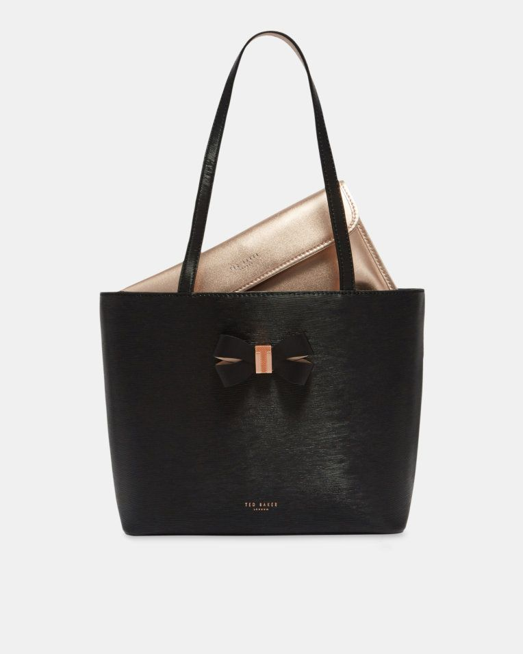 a6c83a33aed Bow detail small leather shopper bag - Black | Bags | Ted Baker ROW ...