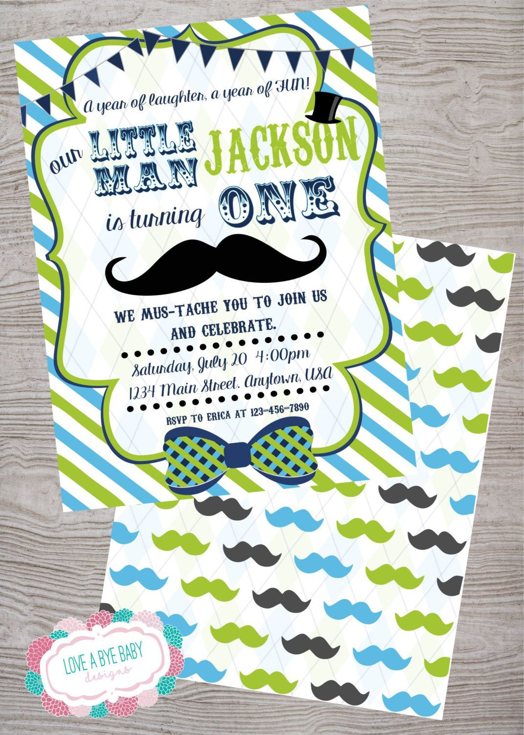 Little man mustache birthday baby shower party invitation. printable ...