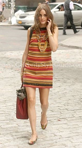 2effece17518 Seen on Celebrity Style Guide  Olivia Palermo wore a woven multicolor  striped Free People New Romantics Tapestry Shift Dress and carried a Fendi   2Jours ...