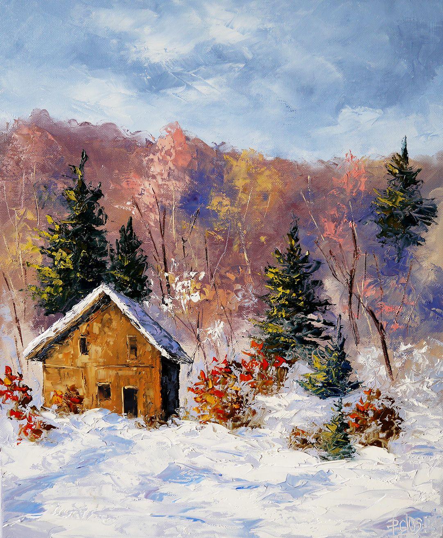 Dessin et peinture vidéo 2037 Chalet dans la neige Peintureà l'huile réalisée au couteau  # Peinture Chalet Bois