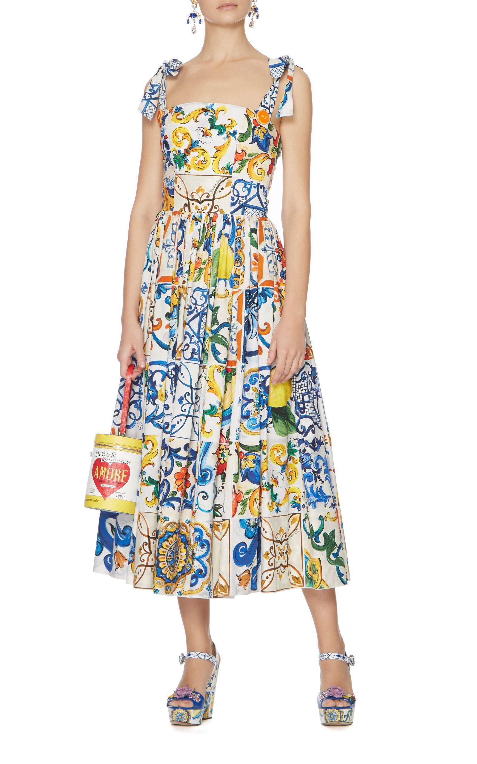 c30edf78b69190 ... Dolce   Gabbana Maiolica Tie Strap Tank Midi Dress. Click product to  zoom