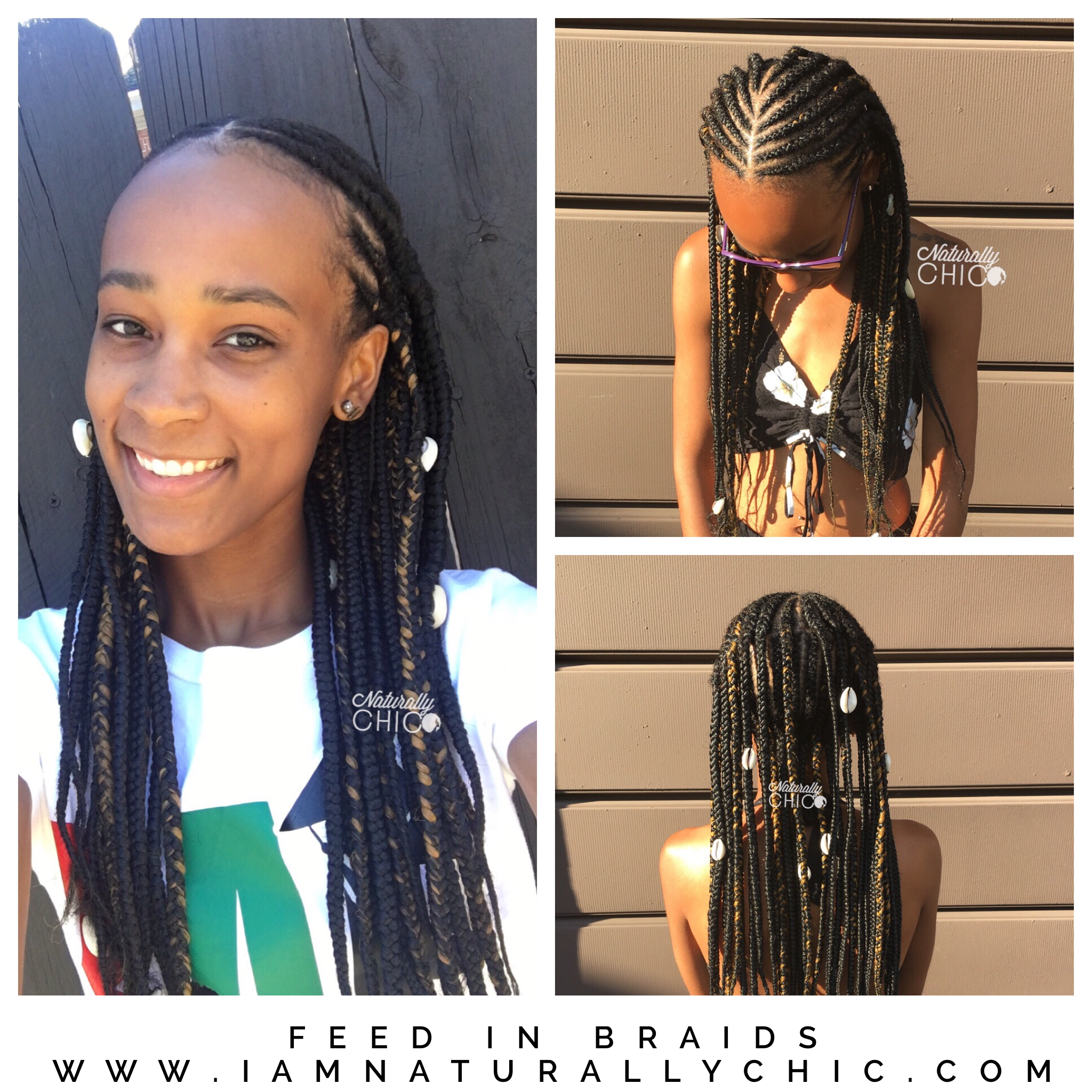 2 Row Of Feed In Braids French Braid Ponytail Braids With Curls Braided Ponytail