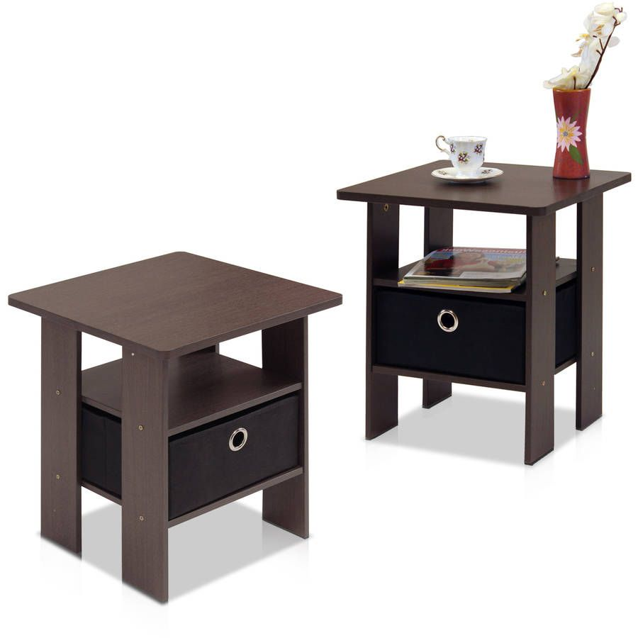 Pee End Table Bedroom Night Stand With Foldable Bin Drawer Multiple Colors