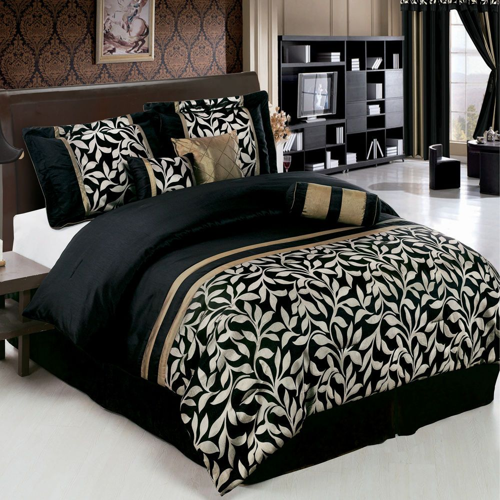 Best Elegant 7Pc Chandler Black And Gold Comforter Bedding Set 640 x 480