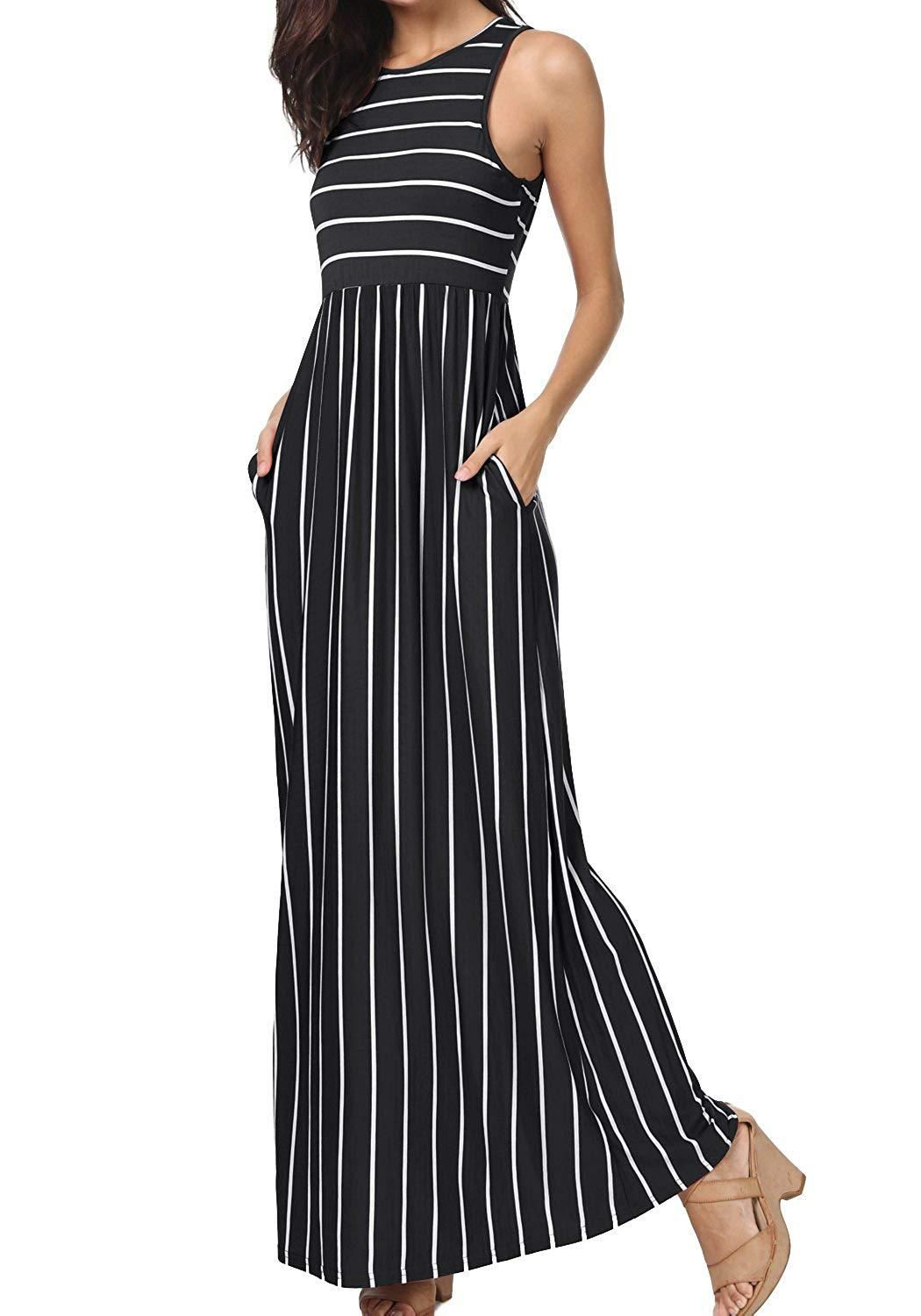 7acc593459c1 levaca Womens Summer Sleeveless Striped Pockets Flowy Casual Long Maxi Dress  at Amazon Womens Clothing store -- Amazon Affiliate link.