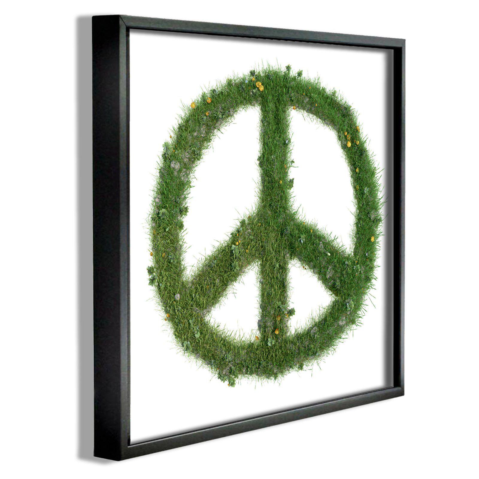 Stupell Decor Grass Peace Sign Framed Giclee Texturized Art - BRP-1941_FR_12X12