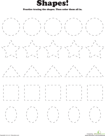 Trace and Color Shapes Shapes worksheets, Shape tracing