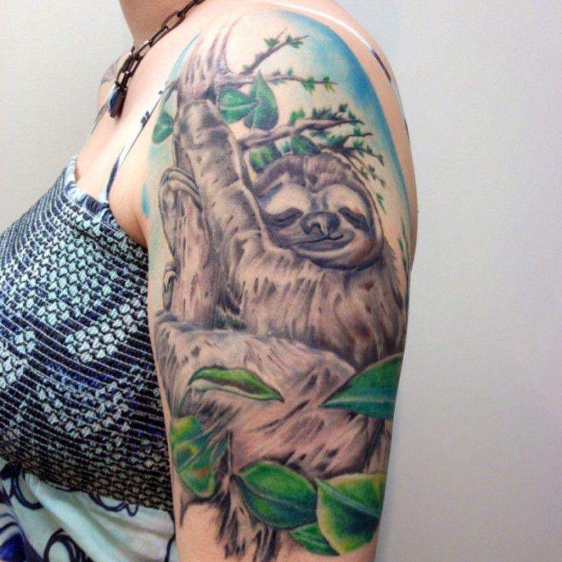awesome sleeping sloth tattoo on half sleeve tattoos pinterest awesome sloth tattoo and. Black Bedroom Furniture Sets. Home Design Ideas