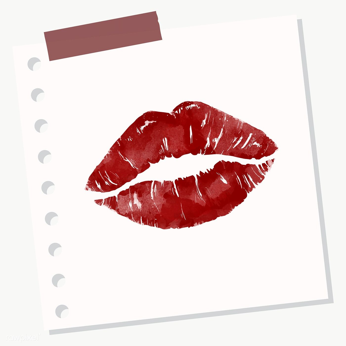 Download Premium Png Of Red Lipstick Kiss On Notepaper Transparent