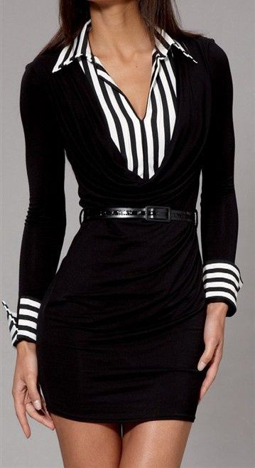Love black and white, love the stripes and if the length was just a little bit longer even to just above the knee it would be the perfect outfit for The Corporate Woman!