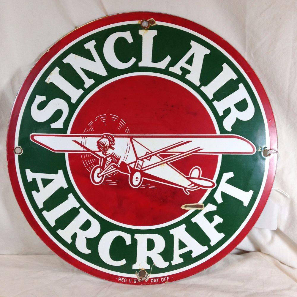 Vintage Sinclair Aircraft Porcelain Sign Round 11 75