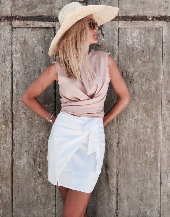a9fefba97b Wrap Skirt, White Linen Wrap around Short Skirt in 2019 | Products ...