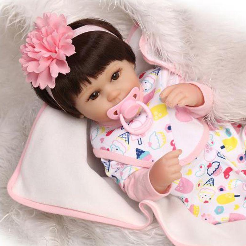 Reborn Baby Doll Soft Silicone 18Inch Lifelike Reborn Baby Gift Toy Girl