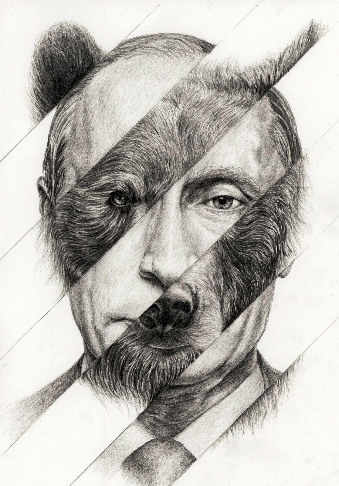 Portrait Of Vladimir Putin The Russian Bear Drawings Portrait Putin
