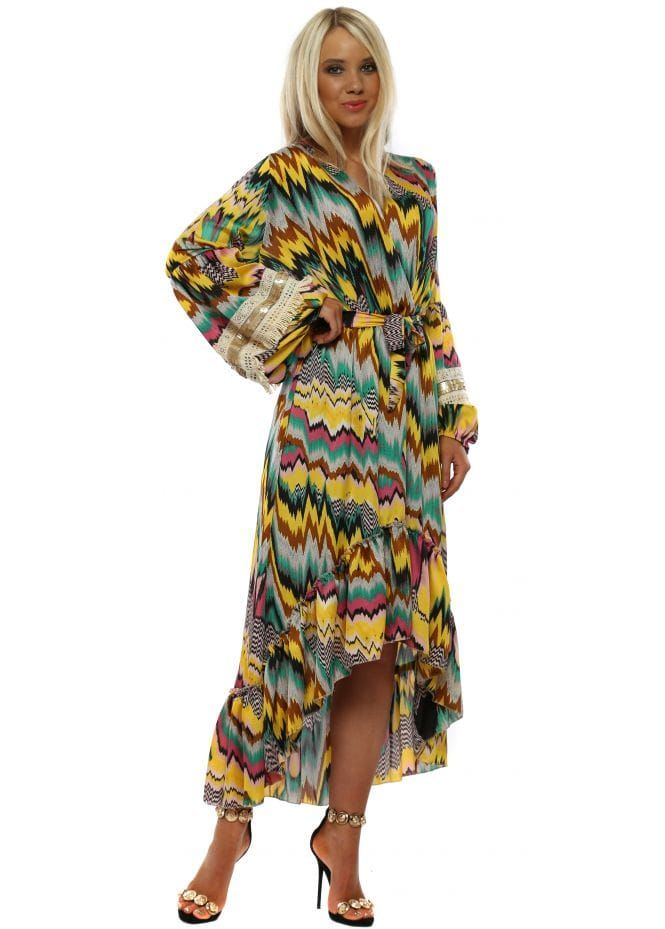 5508f524b53 PORT BOUTIQUE Pink & Yellow Zig Zag Long Sleeve High Low Dress ...
