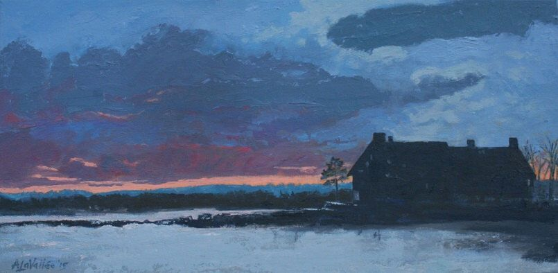 Kennebunk twilight at parsons beach wells maine oil